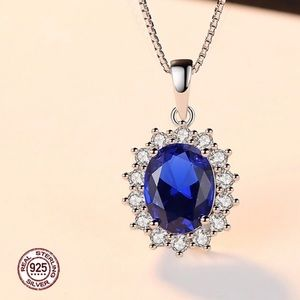 Jewelry - Lab created sapphire necklace on 925 silver chain